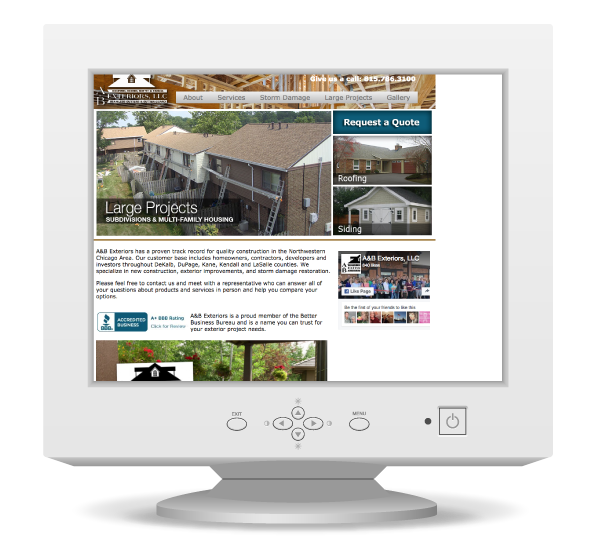 A&B Exteriors Old Website Design