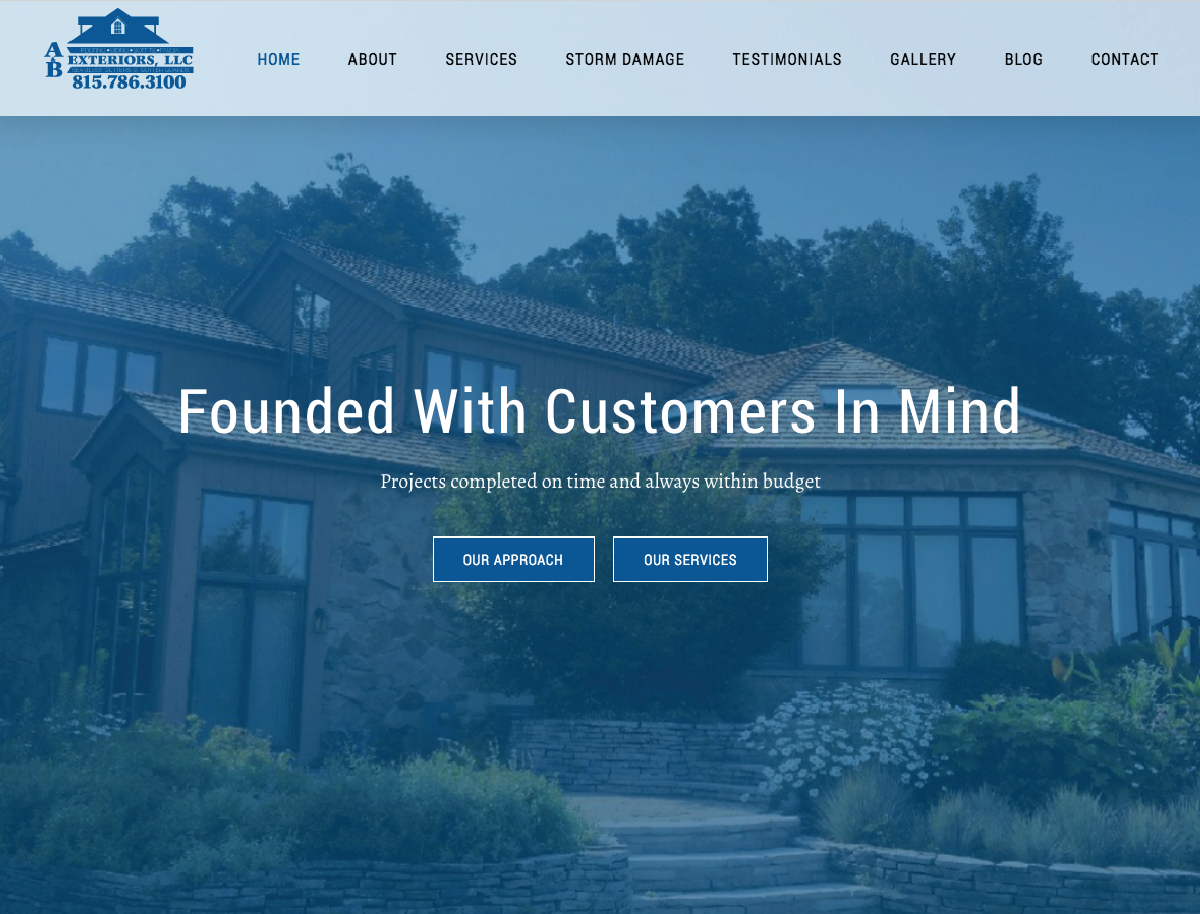 A&B Exteriors Website Design Homepage