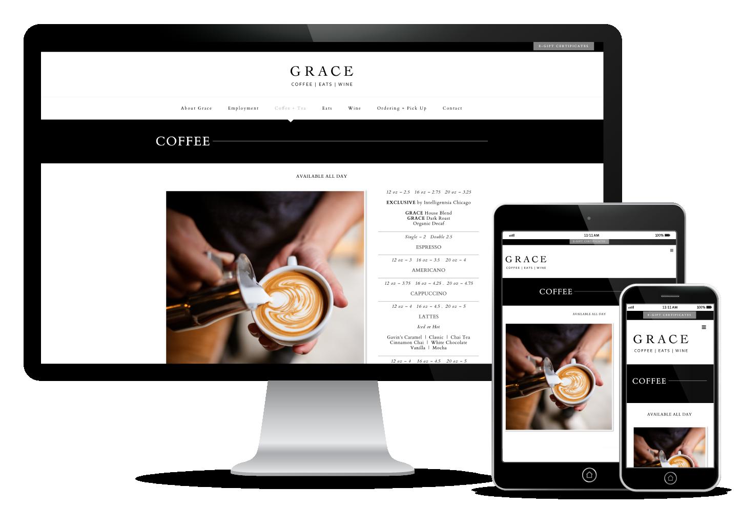 GRACE Coffee and Wine Website Design