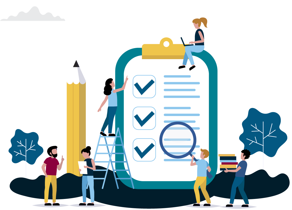Flat Isometric Design of 6 People, Large Clipboard, and Pencil